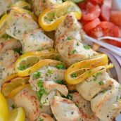 Close up of greek chicken skewers