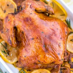 Baked chicken with lemon and fresh herbs