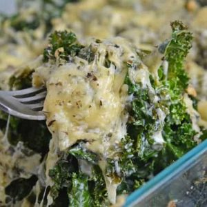 Cheesy fork of kale gratin