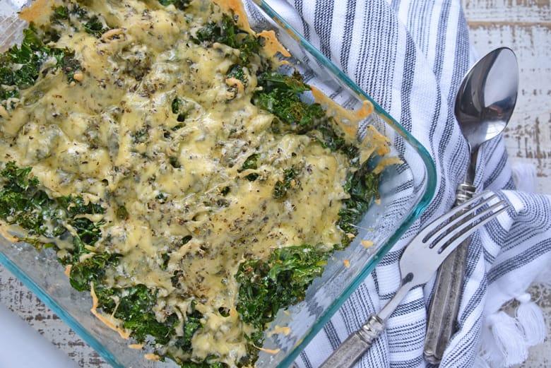 Overhead of baked kale gratin