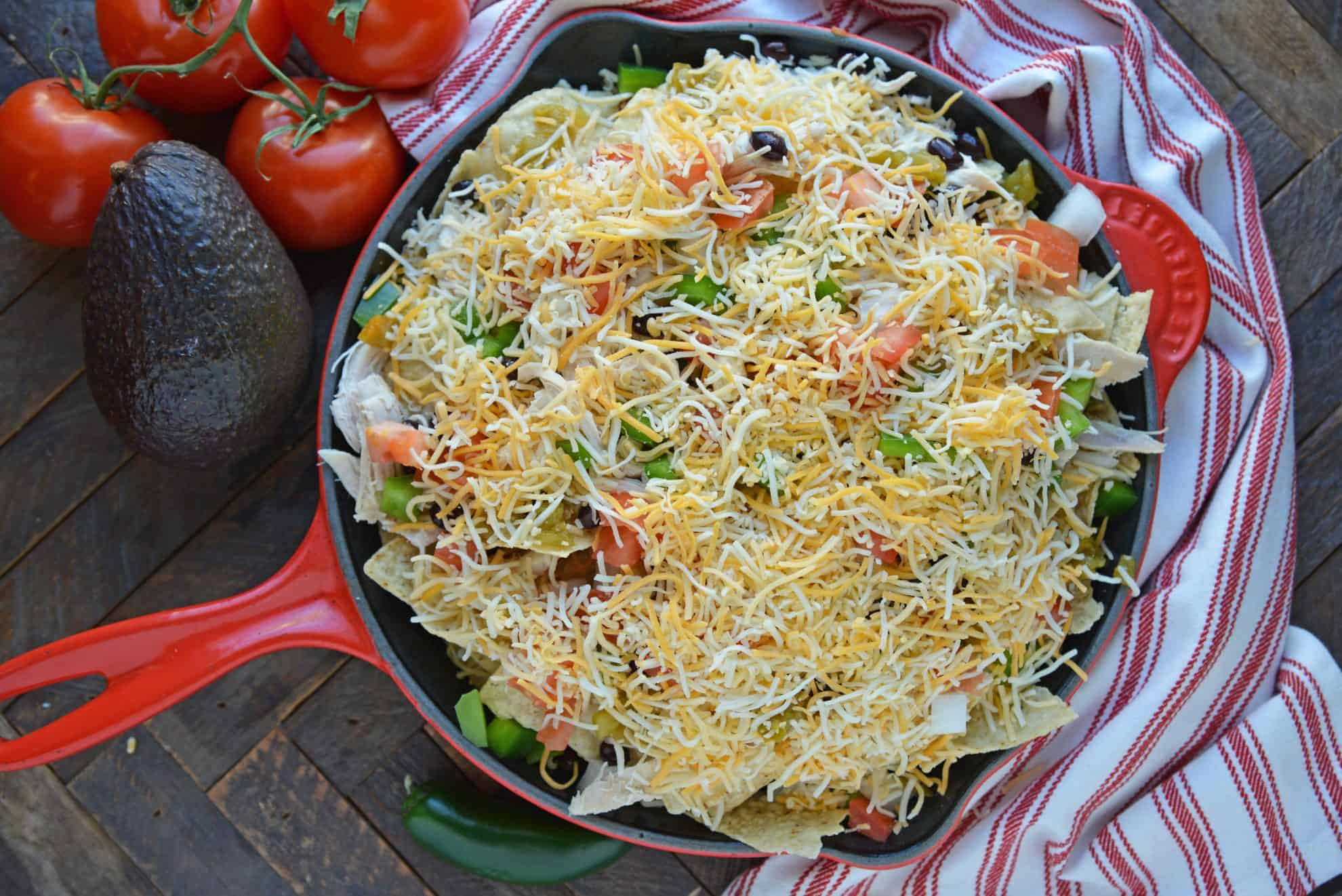 Top skillet nachos with cheese