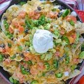 Overhead of finished skillet nachos