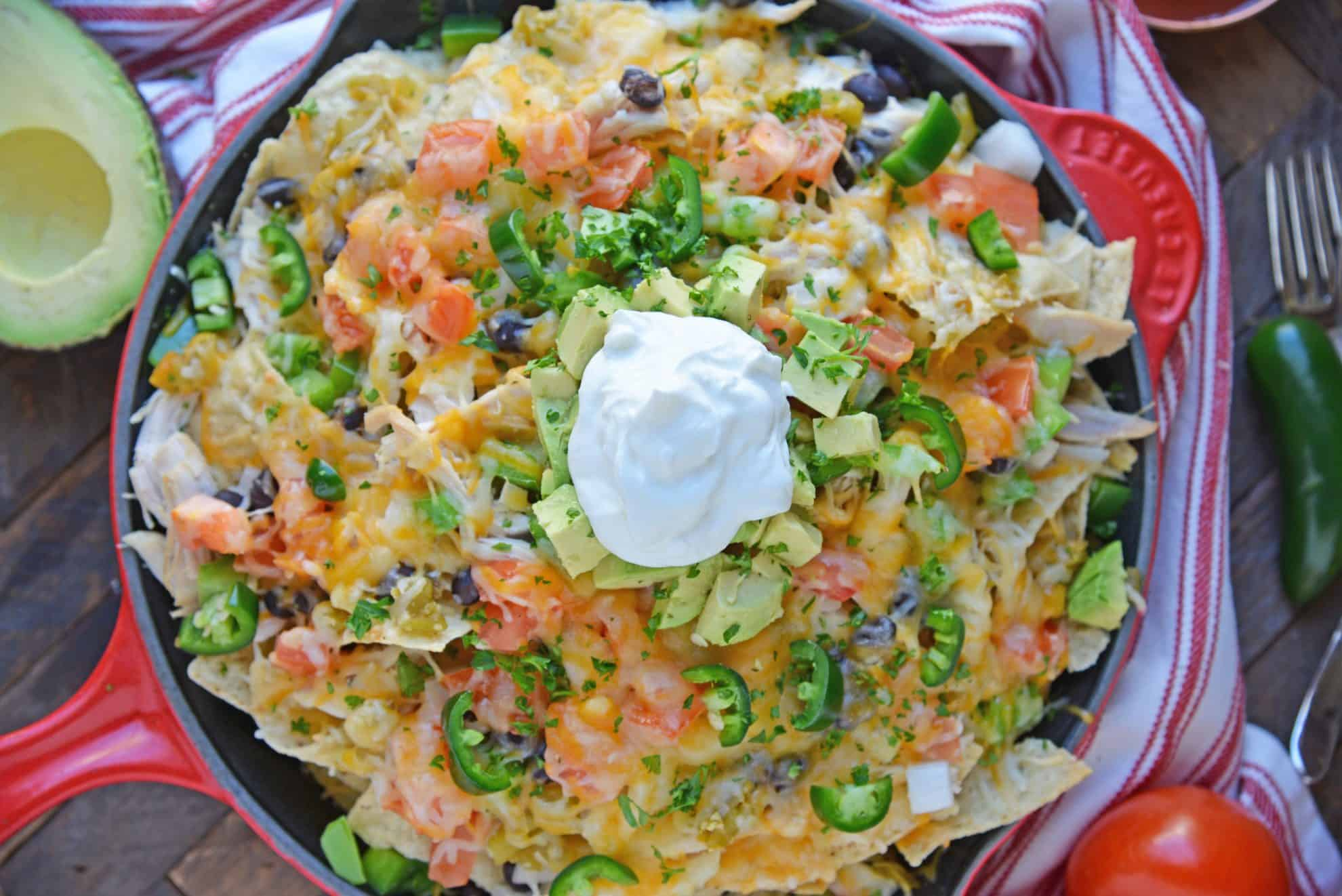 Overhead of finished skillet nachos