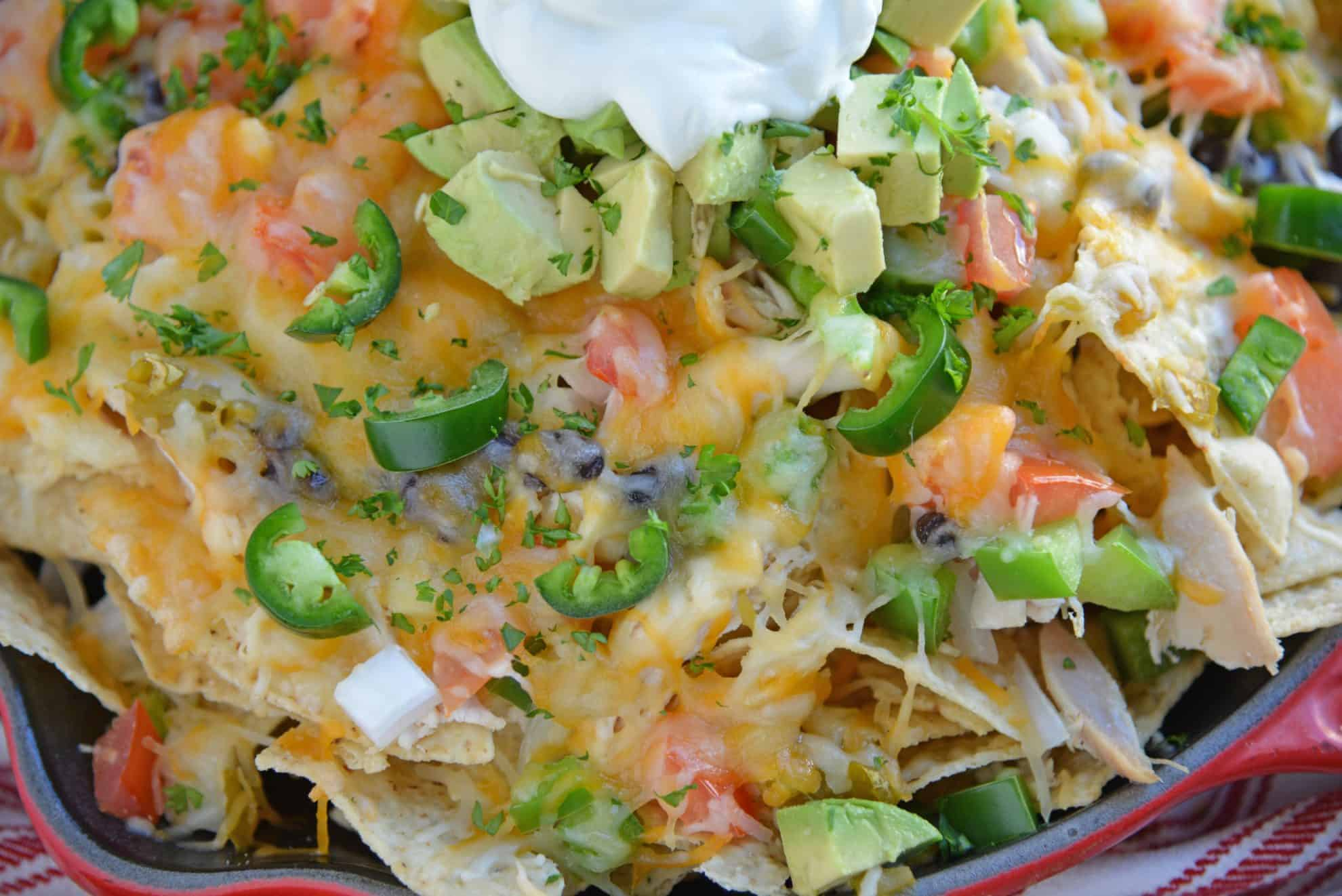 Close up of skillet nachos