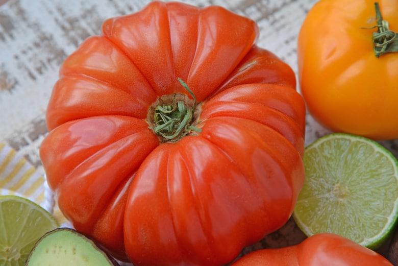 Top of heirloom tomato