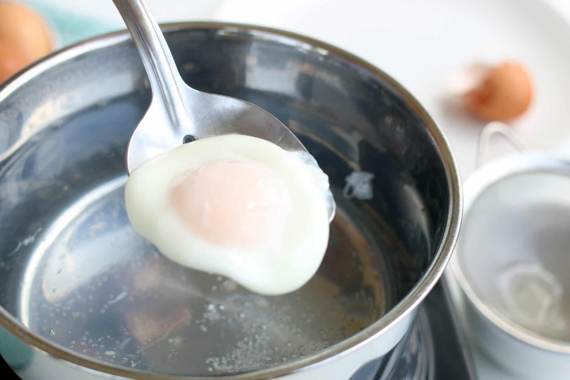 A poached egg after it is cooked