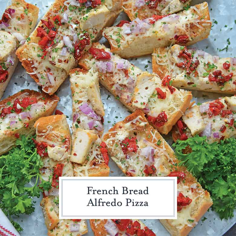 Cut up pieces of Alfredo French bread pizza