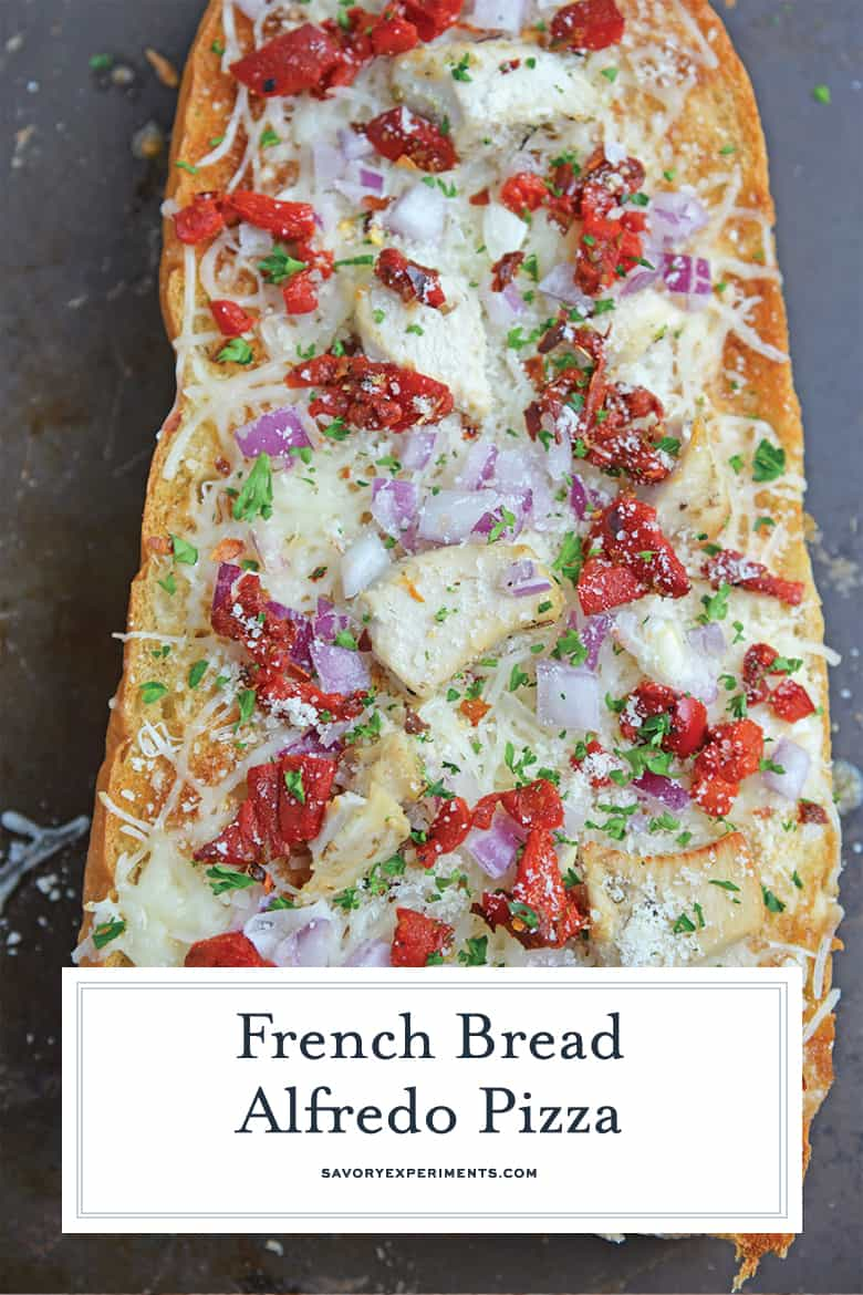 Overhead of French bread pizza