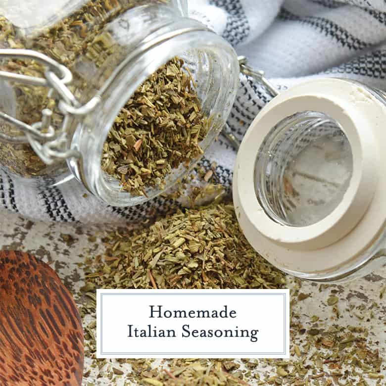 Homemade italian seasoning in a spice jar