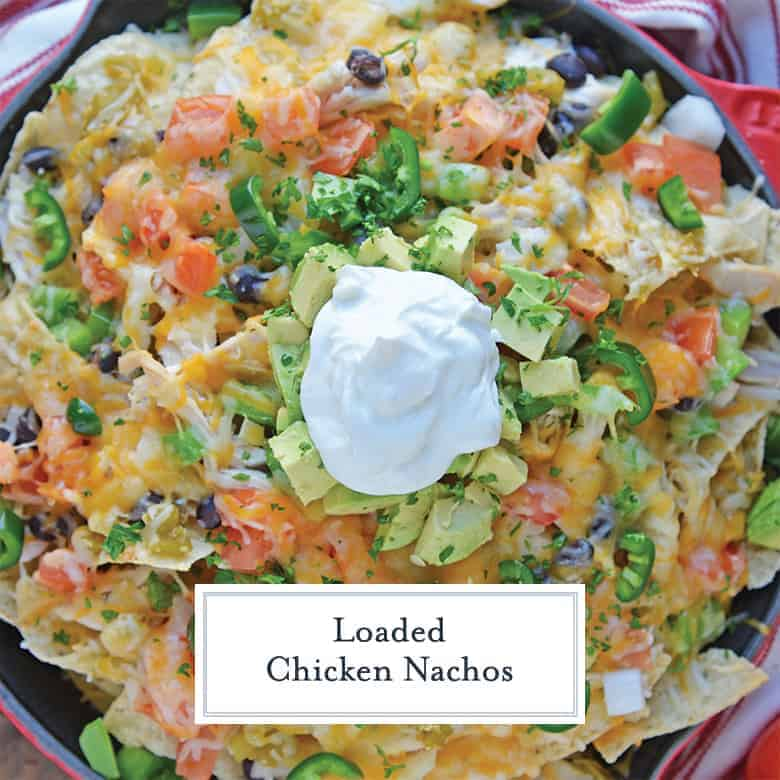 Overhead of loaded nachos in a skillet