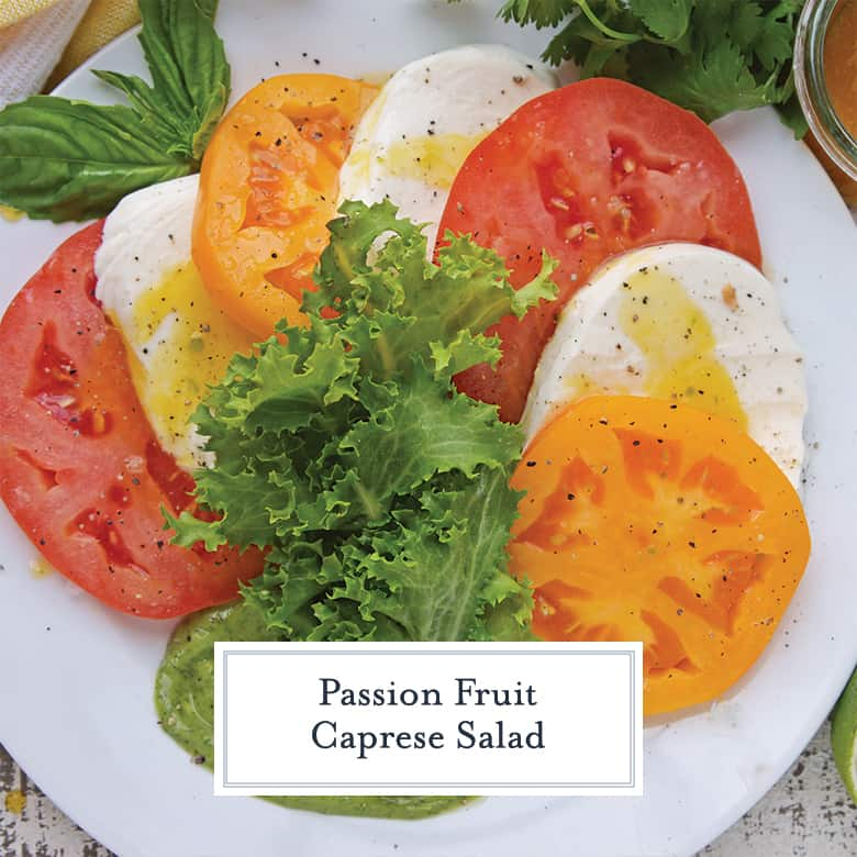 Overhead of yellow and red caprese salad