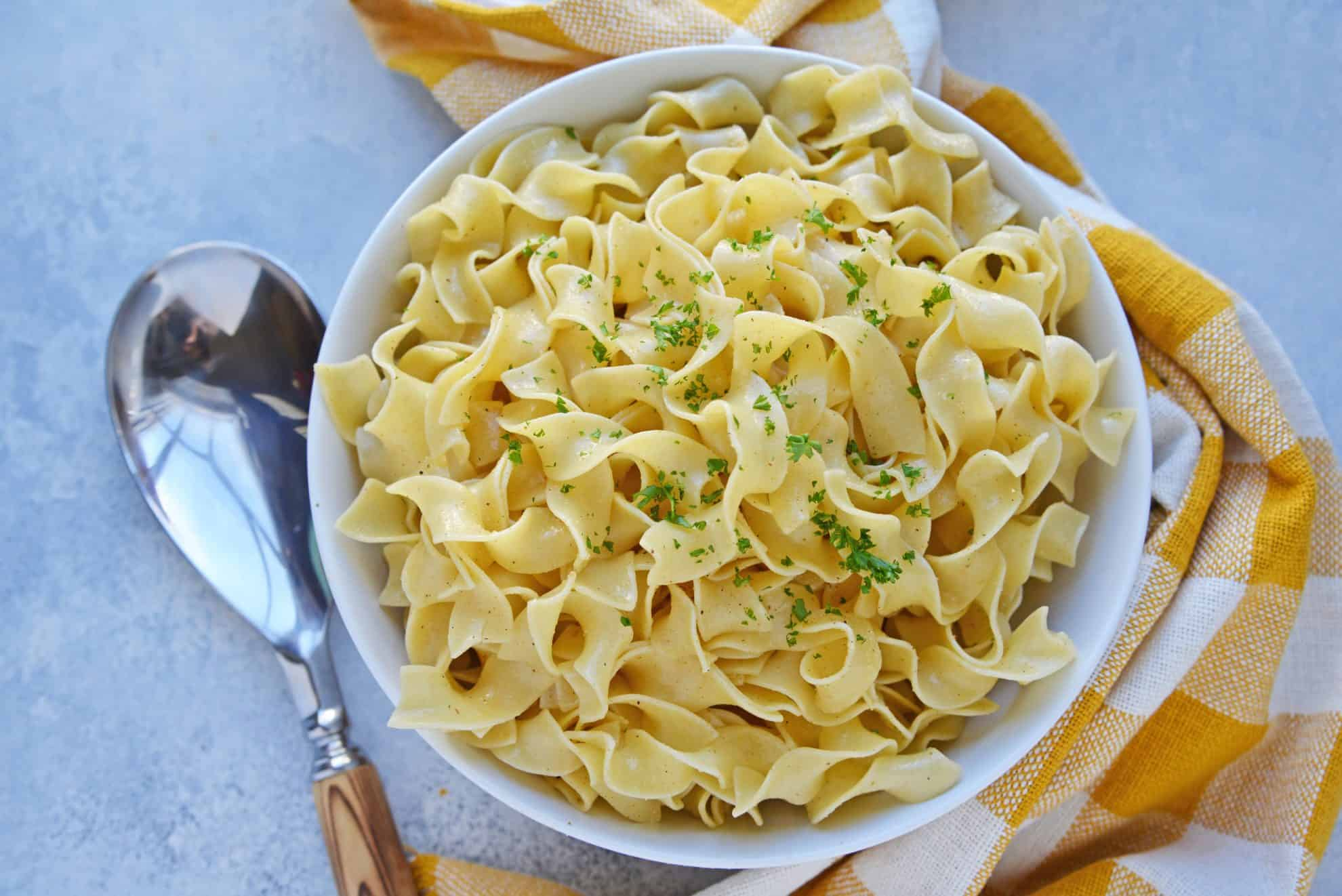 buttered noodles in a serving dish