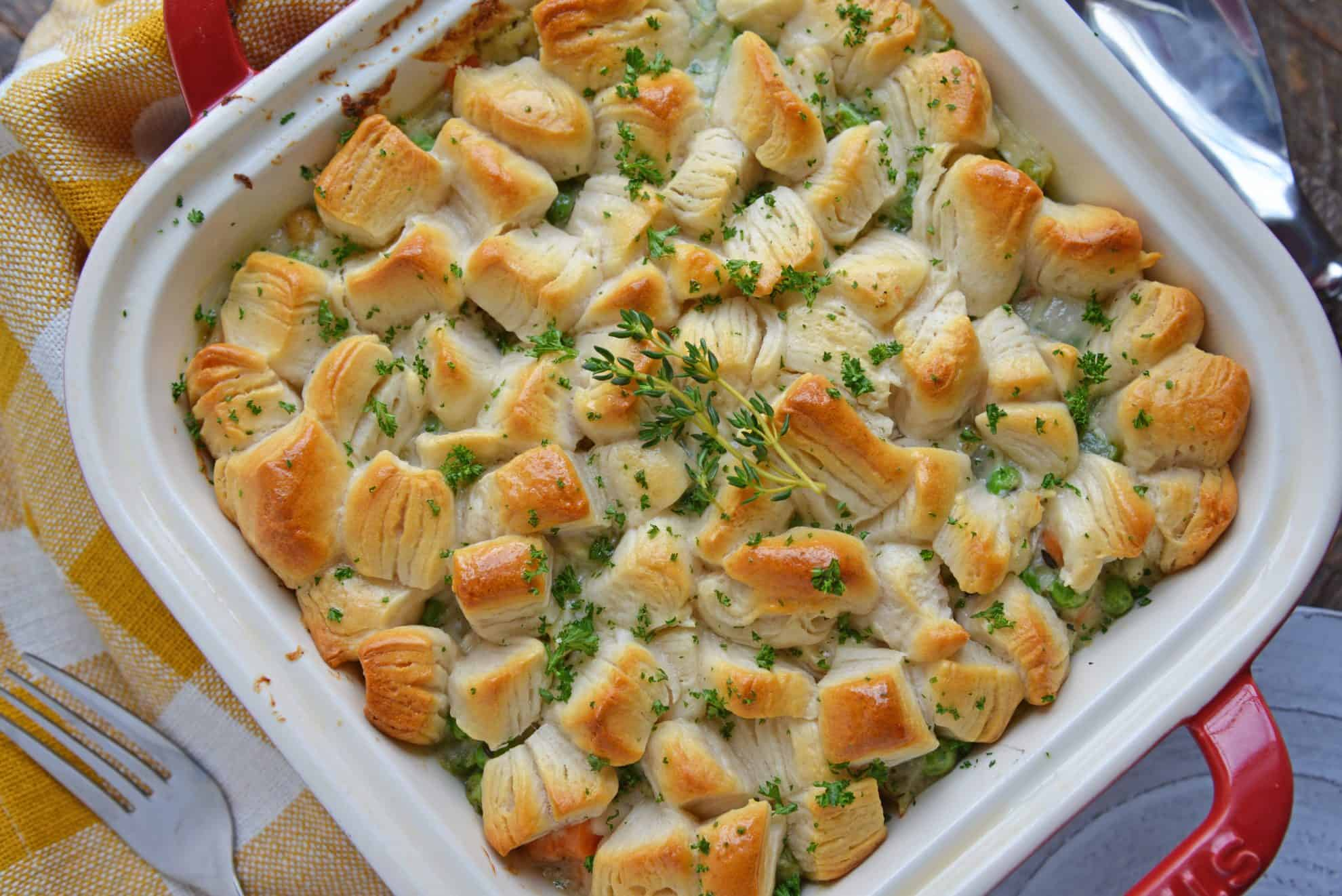 Cooked Chicken Pot Pie Casserole with biscuits