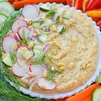 Angle shot of hummus bowl