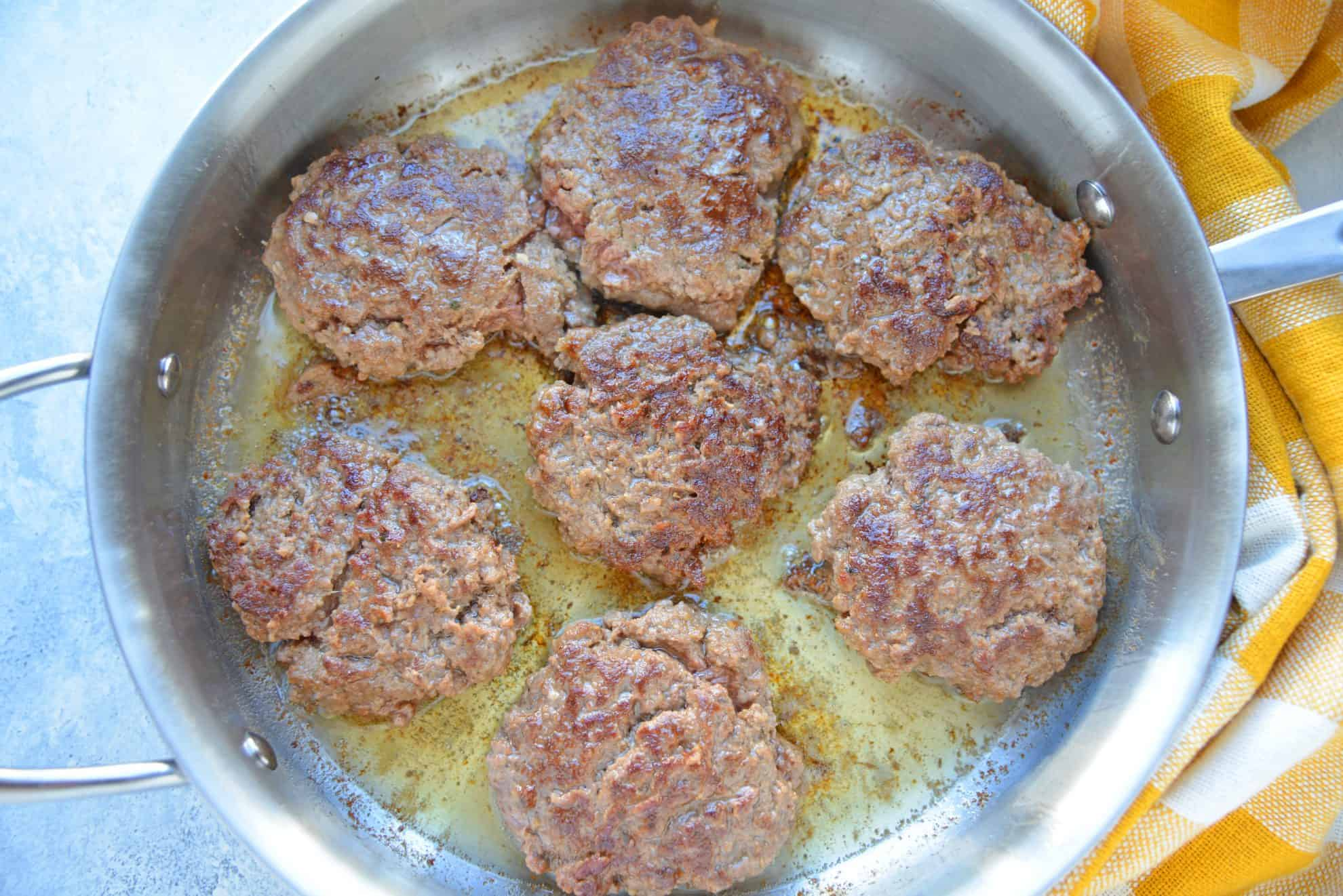 Salisbury steak patties cooking