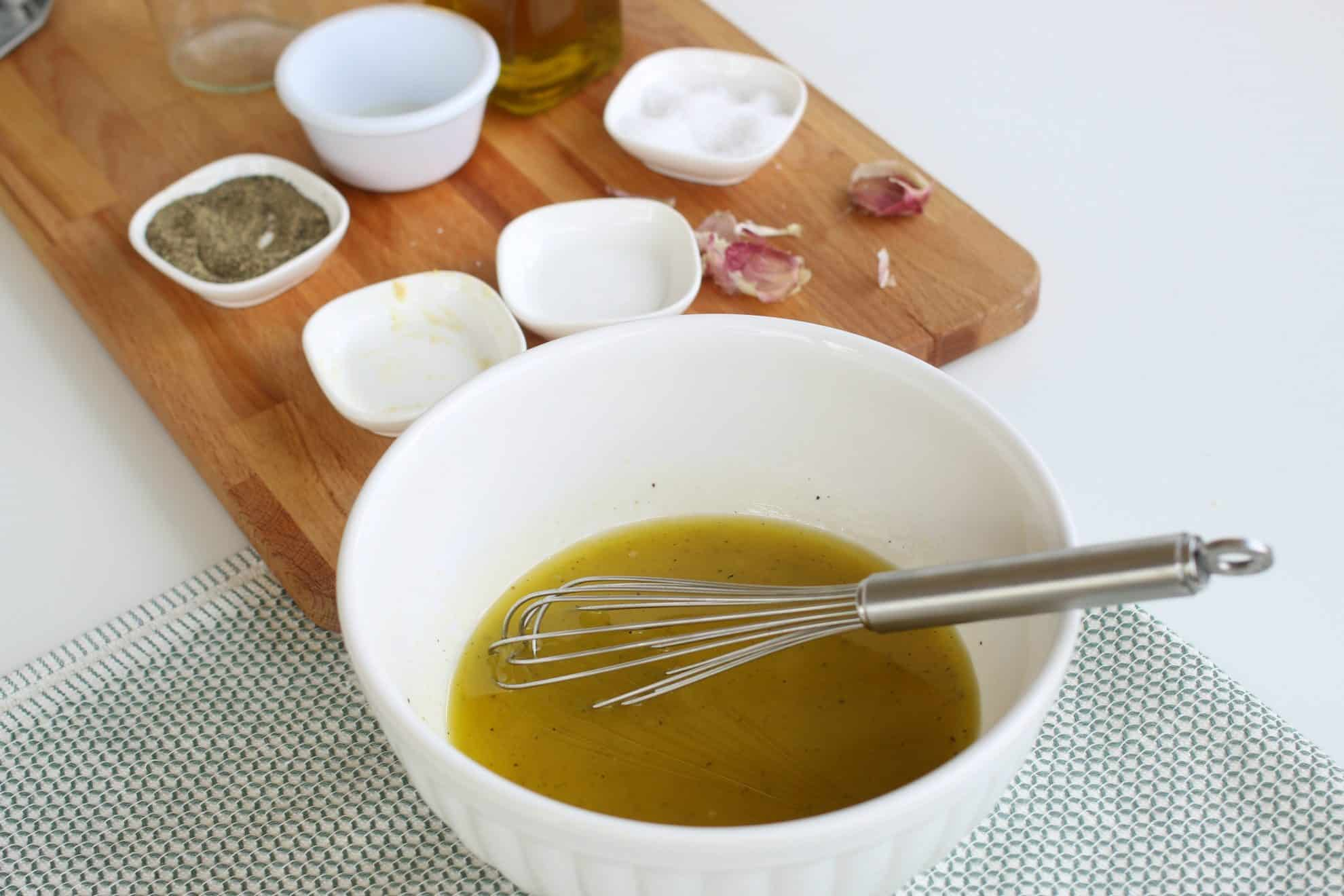 pasta salad dressing in a bowl