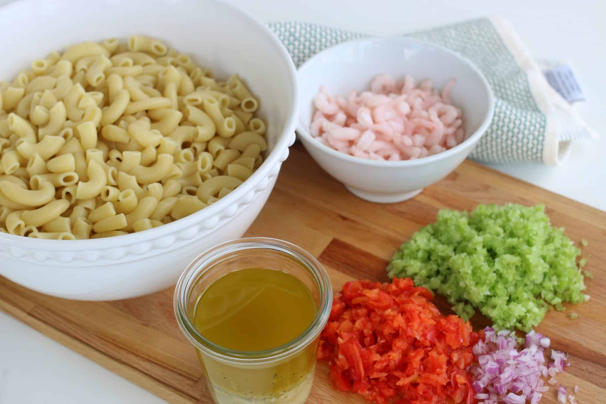 ingredients for shrimp pasta salad