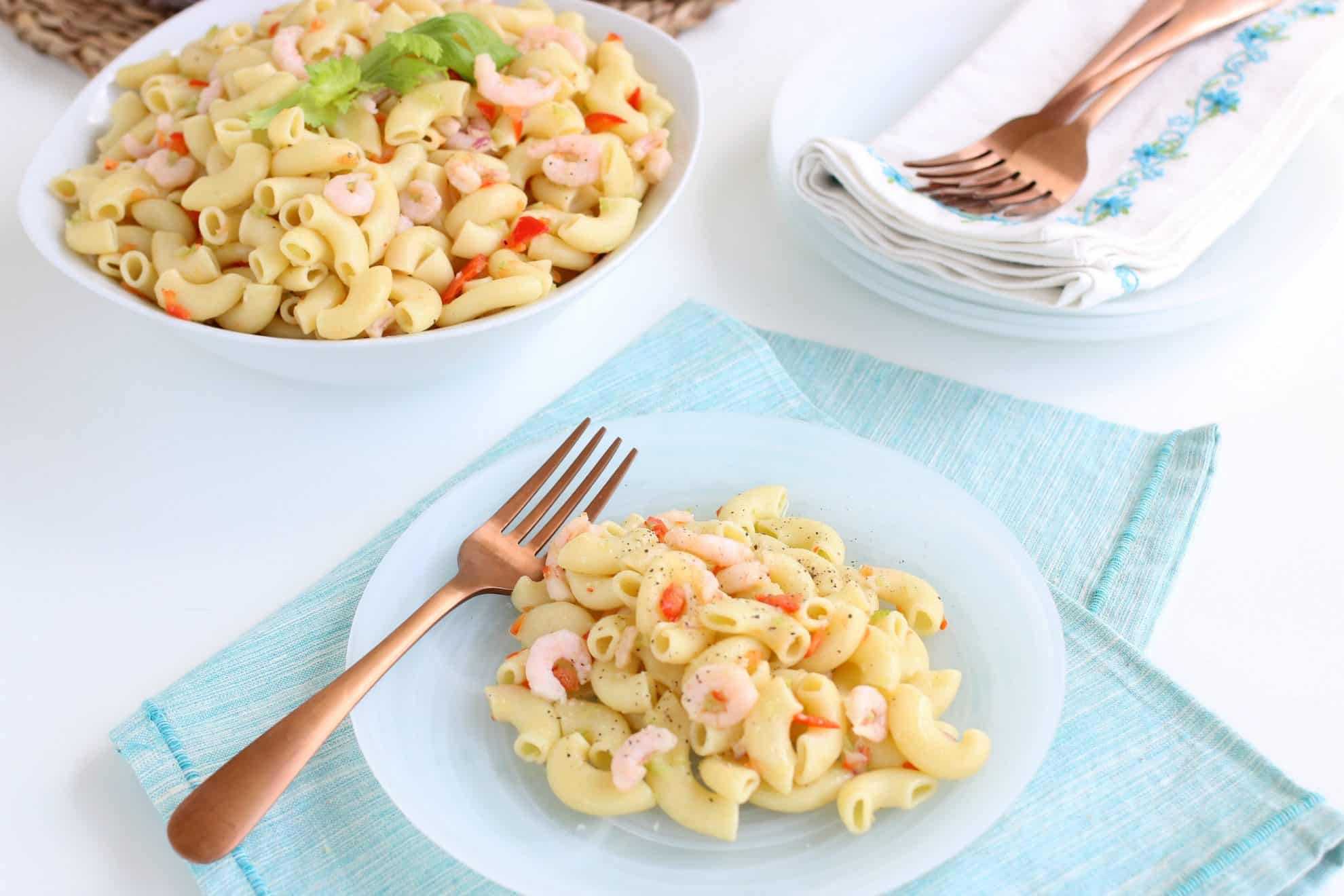 Pasta salad on a side plate