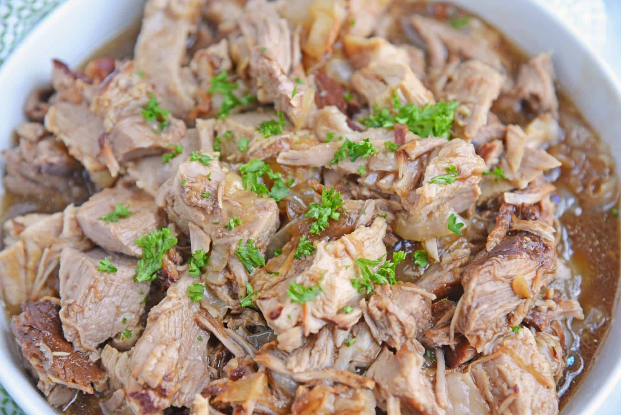 crockpot pulled pork in a bowl