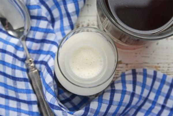 Overhead of homemade coffee creamer