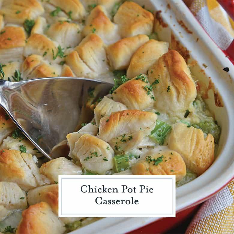 spooning chicken pot pie casserole