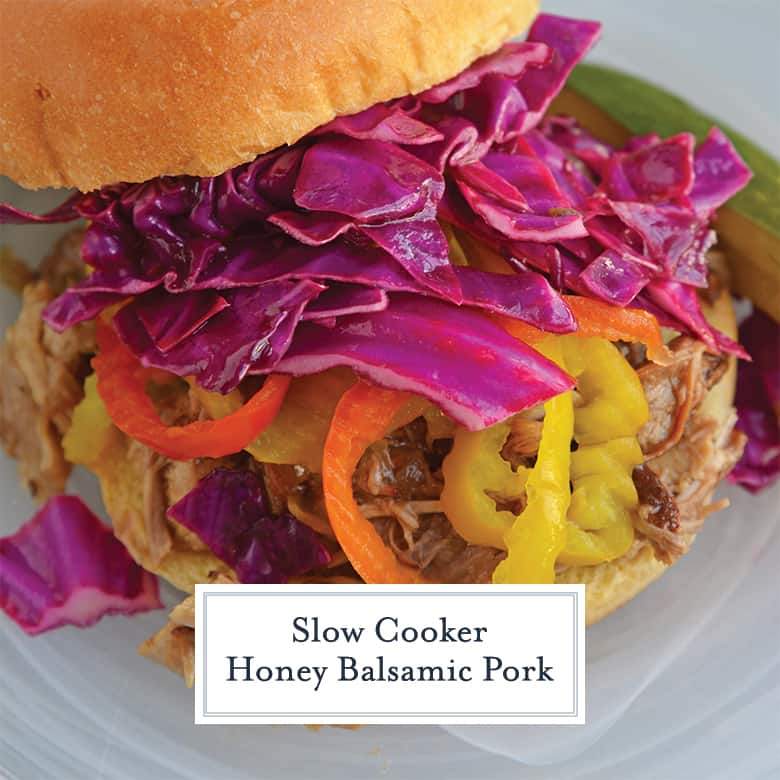pulled pork sandwich with red cabbage slaw