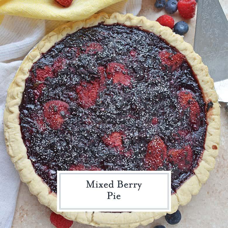 Overhead of mixed berry pie