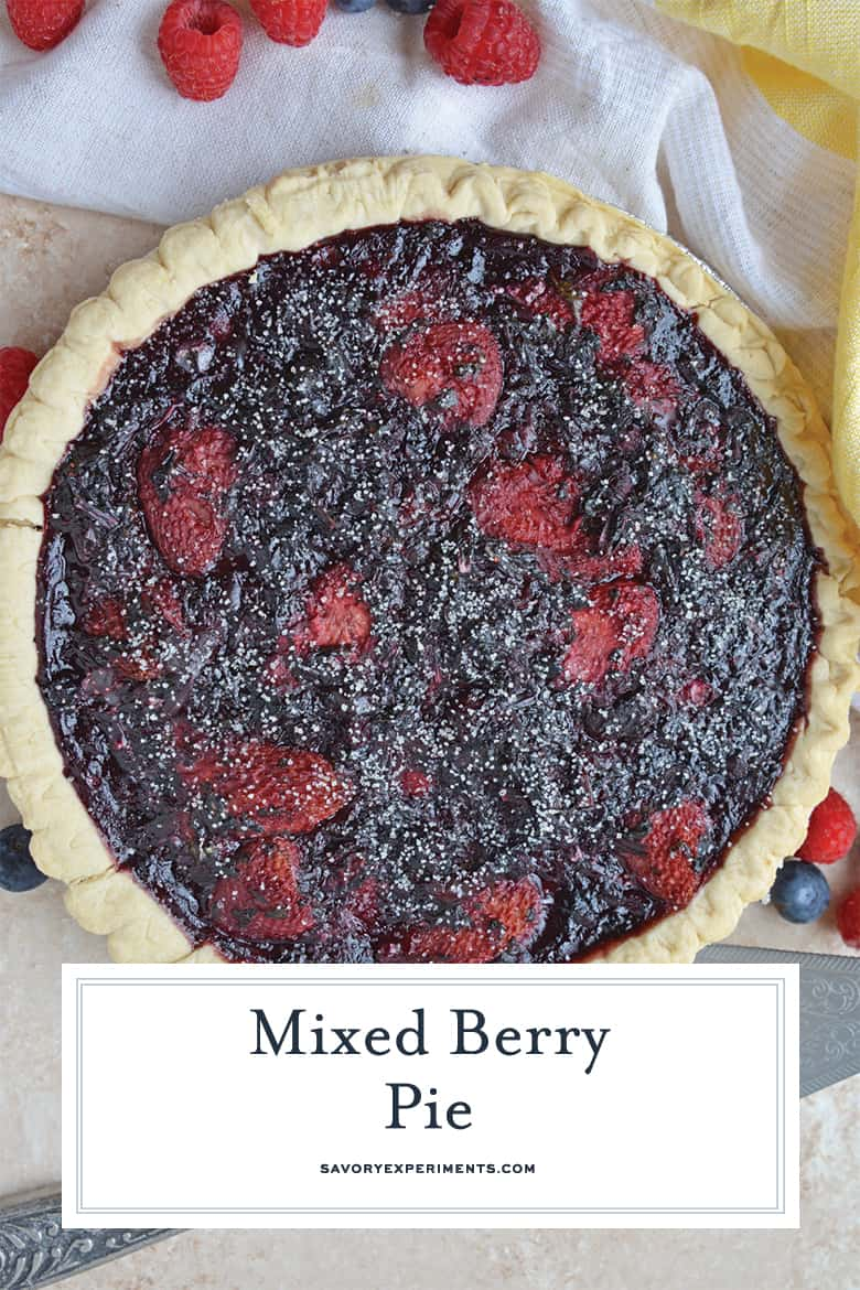 Overhead of mixed berry pie with sugar topping