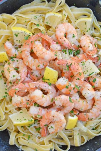 skillet of shrimp scampi