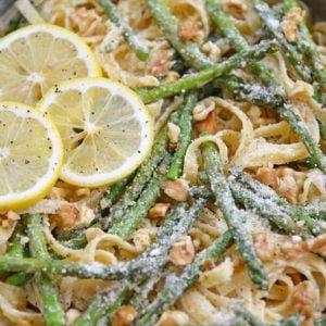 close up of lemon pasta with asparagus