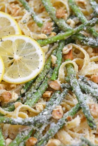 close up of lemon pasta with asparagus