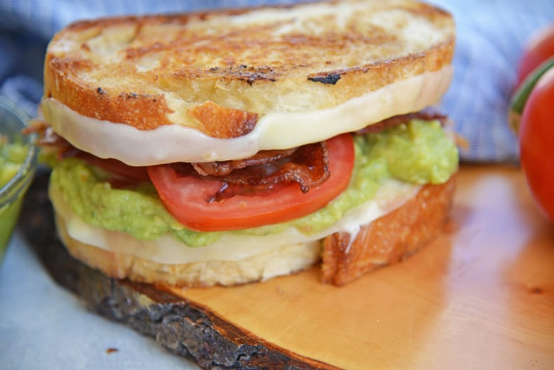 Side view of a guacamole grilled cheese sandwich