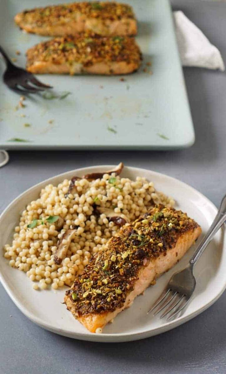 Air fryer pistachio crusted salmon with couscous