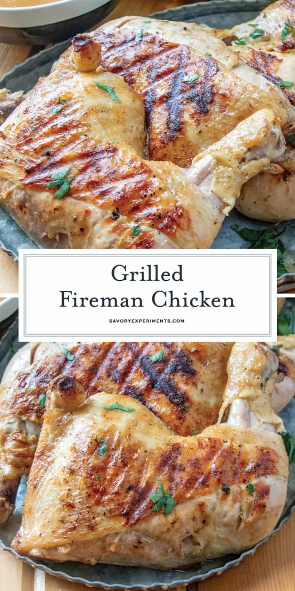 Collage of fireman chicken for Pinterest