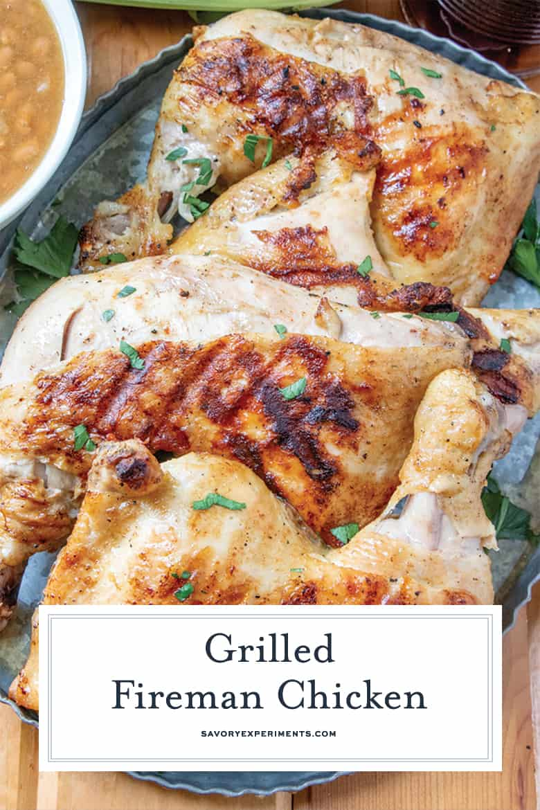 Close up of fireman chicken on a tray for Pinterest