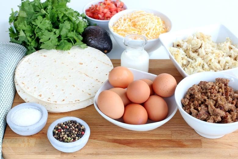 Ingredients for breakfast burritos