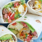 A close up of breakfast burrito