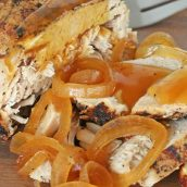 slices of pork loin with onion gravy