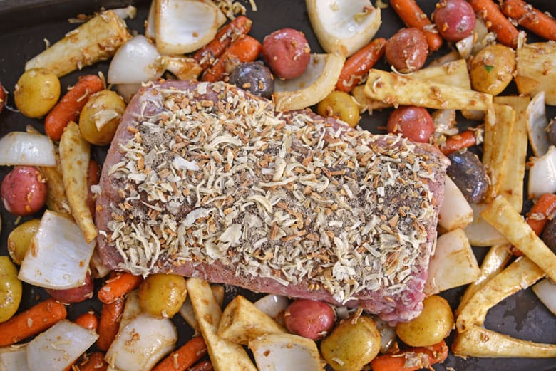 Overview of French Onion Pork Loin