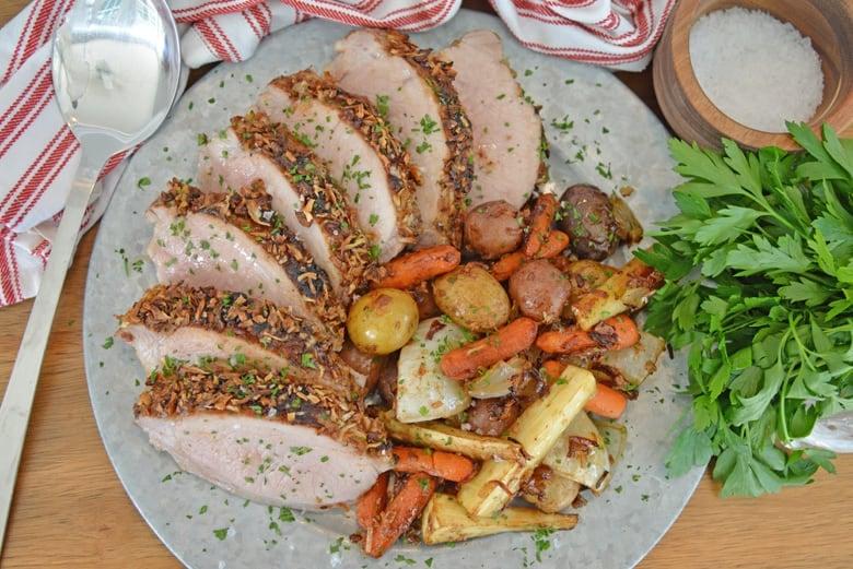 Pork loin on a serving platter