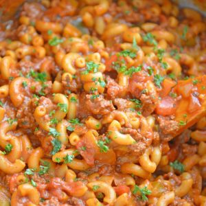 close up of American goulash
