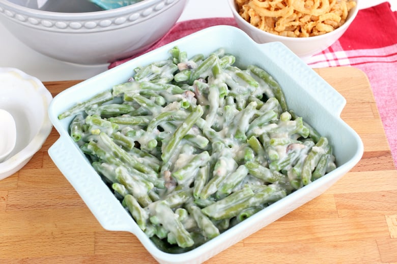Green bean casserole in a white serving dish