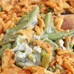 A close up of green bean casserole