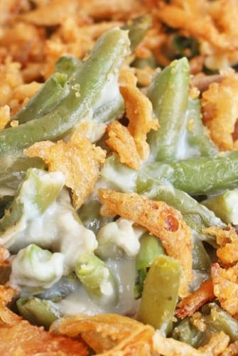 A close up of green bean casserole
