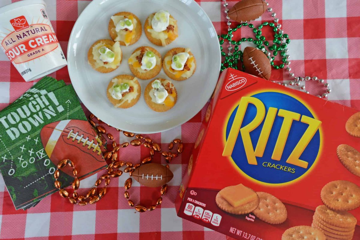 Overhead shot of RITZ box with plated RITZ crackers topped with loaded mashed potatoes