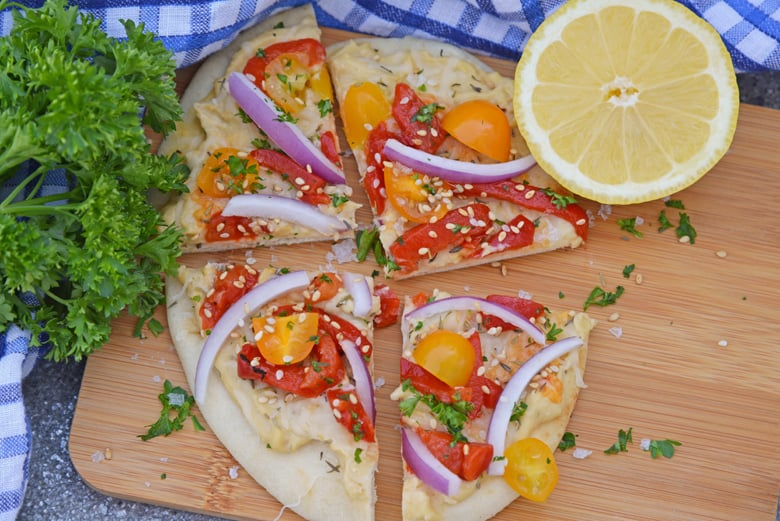 Vegetable flatbread on a cutting board