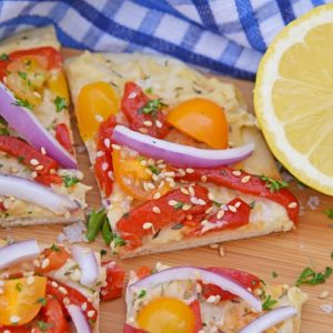 slice of vegetable flatbread