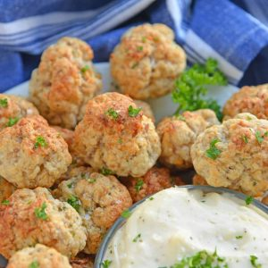 plate of sausage balls with dipping sauce