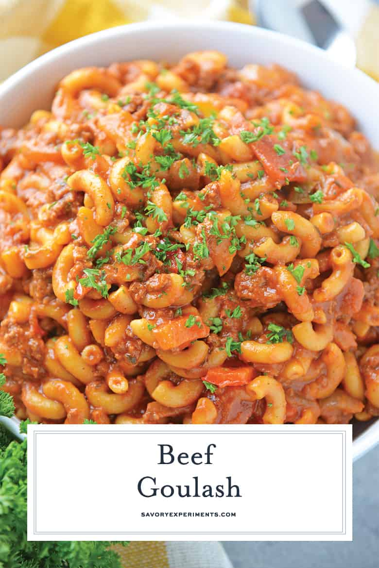 Close up of beef goulash for pinterest