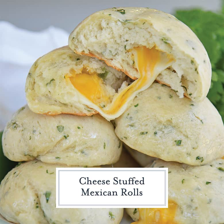 Cheese stuffed Mexican bread basted with butter